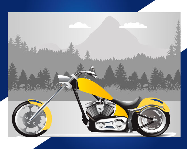 Digital image of yellow motorcycle in front of a grayscale background of trees and mountains.